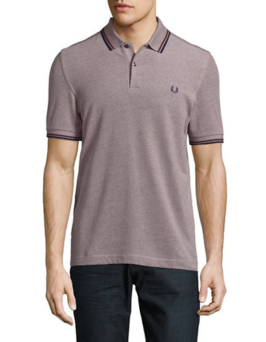 Fred Perry Tipped Pique Cotton Polo-MAHOGANY-Large