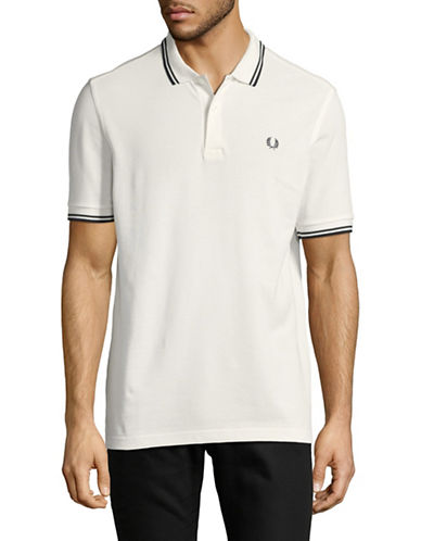 Fred Perry Tipped Pique Cotton Polo-OFF WHITE-Medium