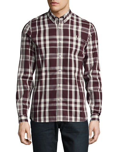 Fred Perry Checkered Button-Down Sport Shirt-BROWN-Medium