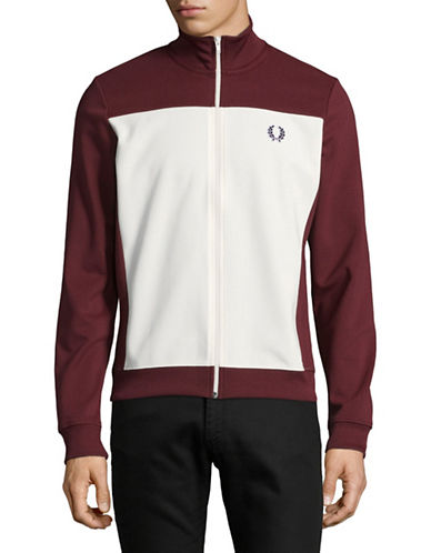 Fred Perry Embroidered Track Jacket-PURPLE-X-Large