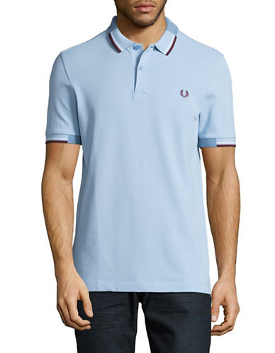 Fred Perry Cotton Stripe Polo Shirt-BLUE-Small
