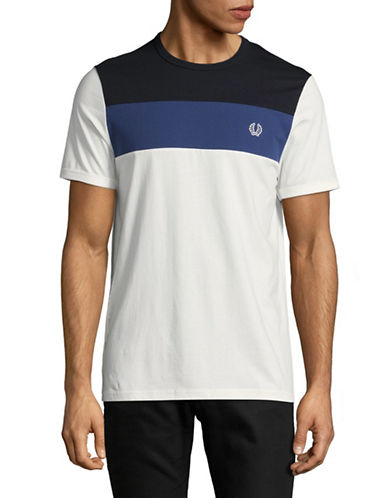 Fred Perry Colourblock T-Shirt-WHITE-Medium