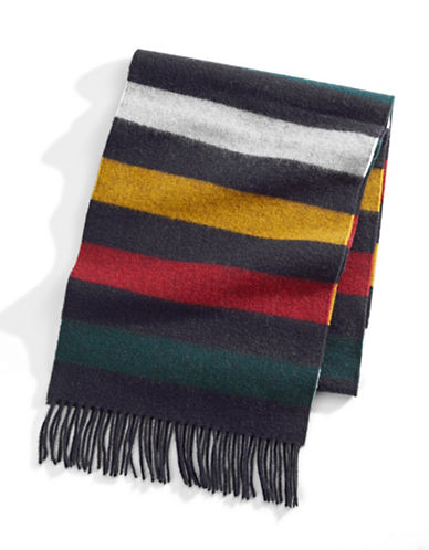 HudsonS Bay Company Multi Stripe Wool Scarf-NAVY MULTISTRIPE-One Size
