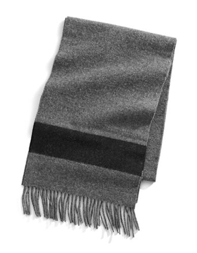 HudsonS Bay Company Multi Stripe Wool Scarf-CHARCOAL-One Size
