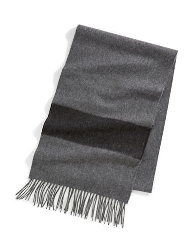 HudsonS Bay Company 100% Cashmere Scarf - Multi Stripe-CHARCOAL-One Size
