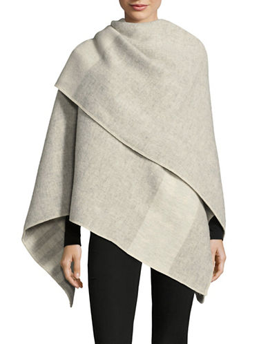 HudsonS Bay Company Reversible Wool Poncho-GREY CREAM-One Size