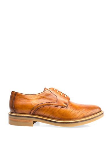 Base London Stanford Perforated Leather Shoes-TAN-EU 44/US 11