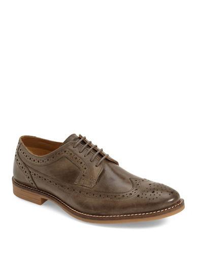 Base London Milton Brogued Leather Shoes-GREY-EU 45/US 12