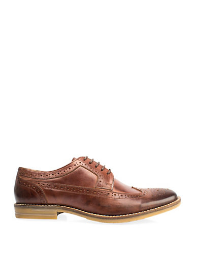 Base London Milton Brogued Leather Shoes-TAN-EU 43/US 10