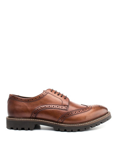 Base London Trench Leather Textile Brogue Shoes-TAN-EU 45/US 12