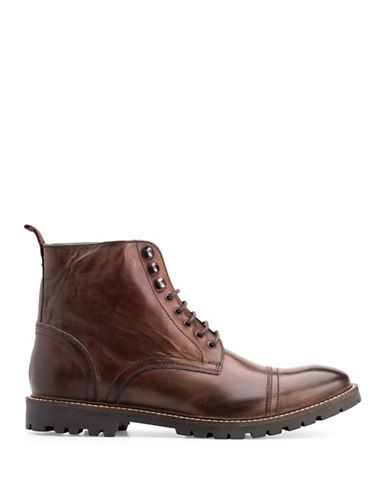 Base London Siege Washed Leather Biker Boots-BROWN-EU 42/US 9
