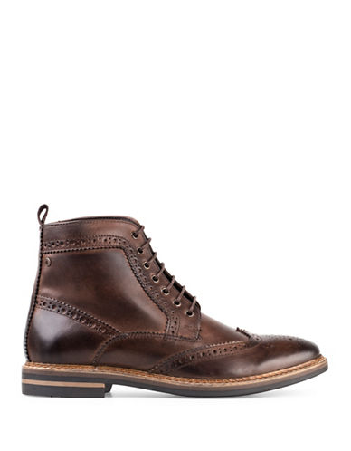 Base London Hurst Burnished Leather Wingtip Boots-BROWN-EU 42/US 9