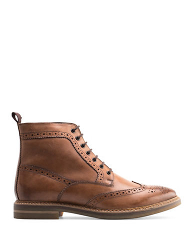 Base London Hurst Burnished Leather Wingtip Boots-TAN-EU 44/US 11