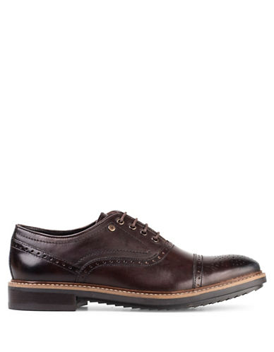 Base London Hardy Washed Leather Oxfords-BROWN-EU 41/US 8