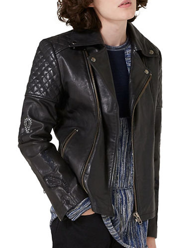 Topman JAMES BAY X TOPMAN Embroidered Leather Biker Jacket-BLACK-X-Large