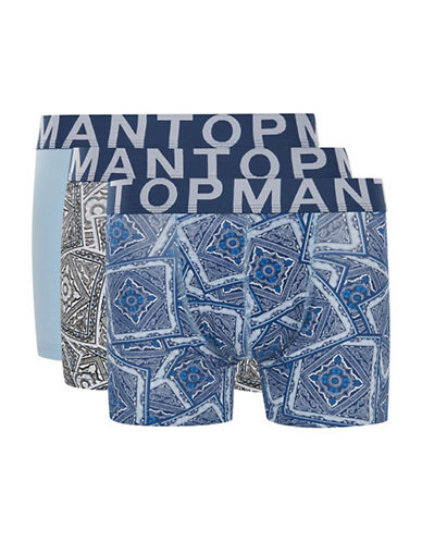 Topman Three-Pack Paisley Printed Trunks-BLUE-Small/Medium