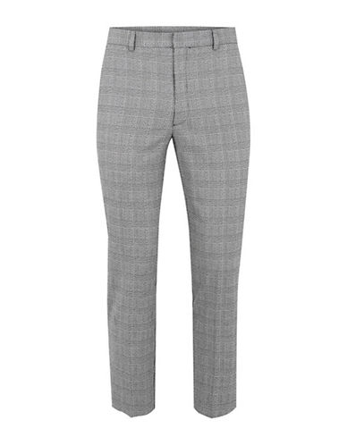 Topman Check Skinny Cropped Trousers-GREY-30