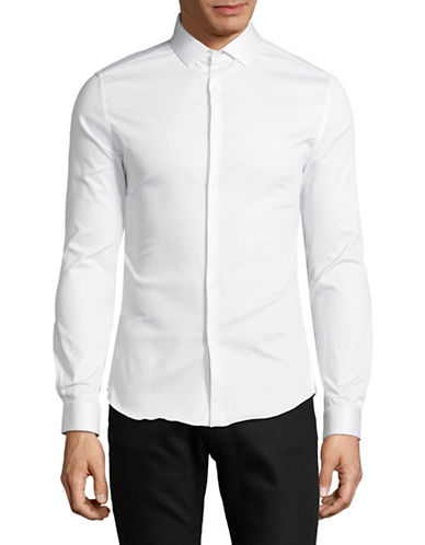 Topman Satin Stretch Shirt-WHITE-Small