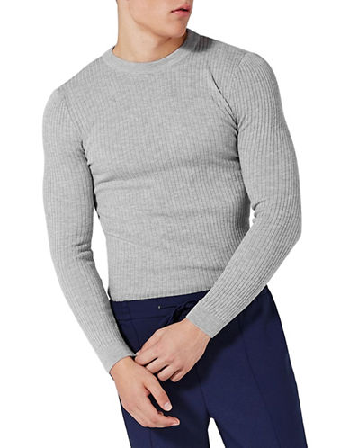 Topman Marl Ribbed Muscle Fit Sweater-GREY-Large