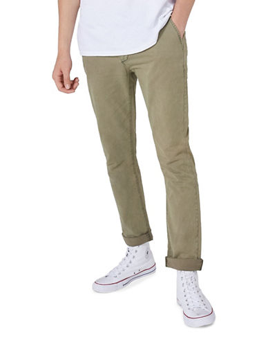 Topman Washed Slim Chinos-GREEN-28 Short