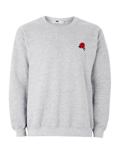 Topman Rose Embroidered Sweatshirt-GREY-Small