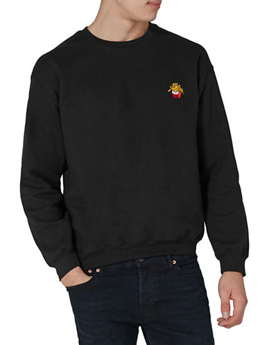 Topman Fries Embroidered Sweater-BLACK-Medium