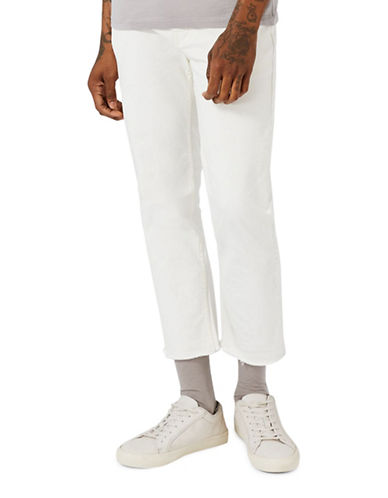 Topman Raw Edge Standard Fit Jeans-WHITE-32