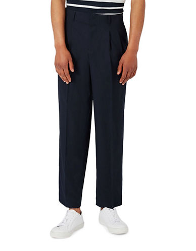 Topman Premium High-Waisted Trousers-NAVY BLUE-32 Long