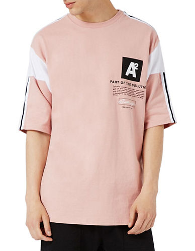 Topman Panelled Oversized T-Shirt-PINK-Small 89294169_PINK_Small