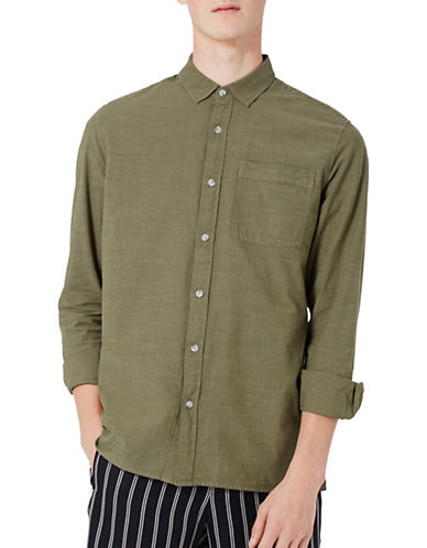 Topman Cotton Slub Sport Shirt-KHAKI/OLIVE-Large