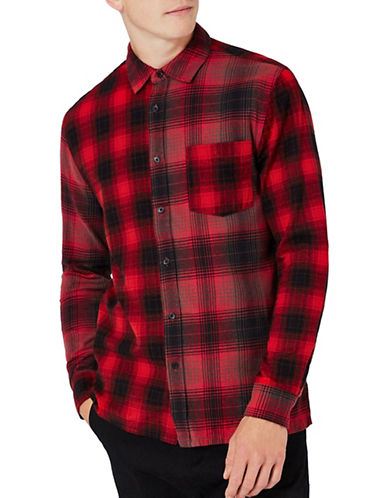 Topman Spliced Check Sport Shirt-RED-Medium