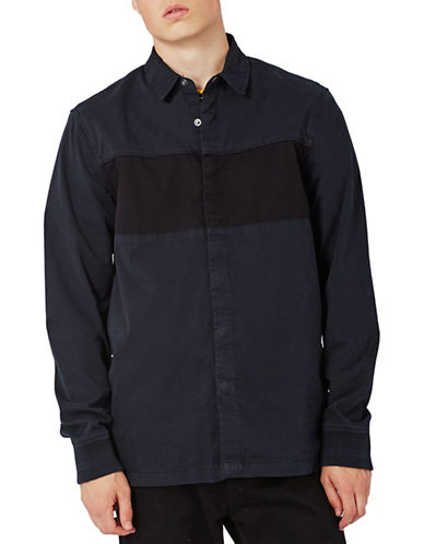 Topman Colourblock Oversized Sport Shirt-NAVY BLUE-X-Large
