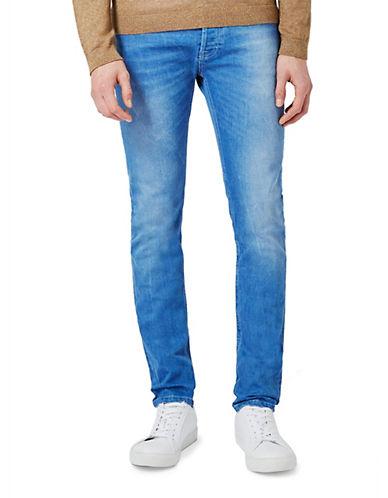 Topman Blue Stretch Skinny Jeans-BLUE-32 Long