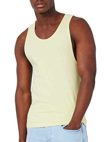 Topman Muscle Fit Tank Top-YELLOW-Small 89396498_YELLOW_Small