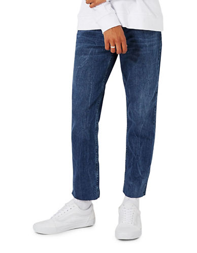 Topman Raw Edge Standard Fit Jeans-BLUE-32