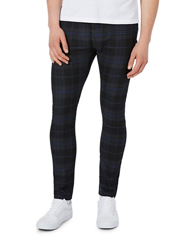 Topman Check Stretch Skinny Chinos-BLACK-34 Short