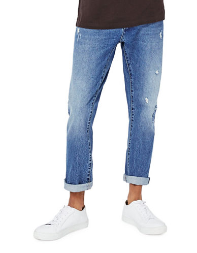 Topman LTD Ripped Slim Tapered Jeans-DARK BLUE-34