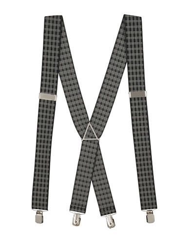 Topman Grid Check Suspenders-SILVER-One Size