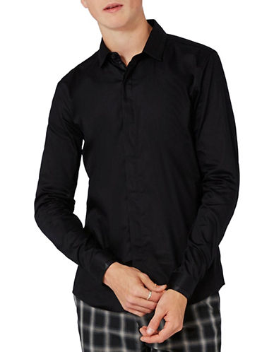 Topman Satin Pleat Dress Shirt-BLACK-Large