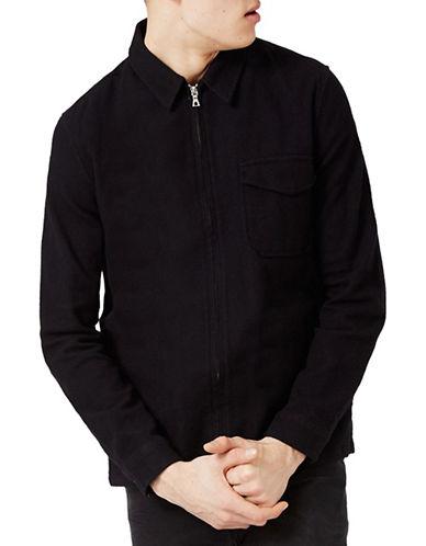Topman Crepe Textured Zip-Through Overshirt-BLACK-Medium