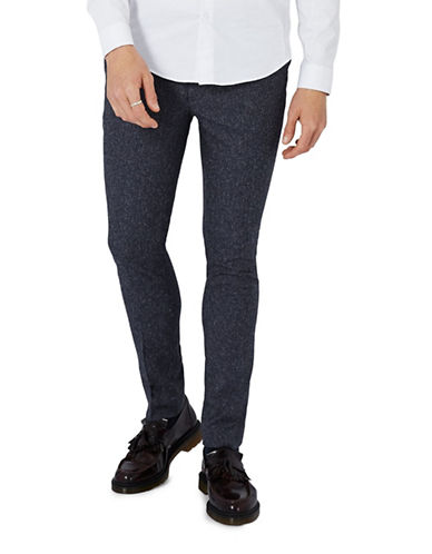 Topman Fleck Ultra Skinny Dress Pants-NAVY BLUE-34 Long