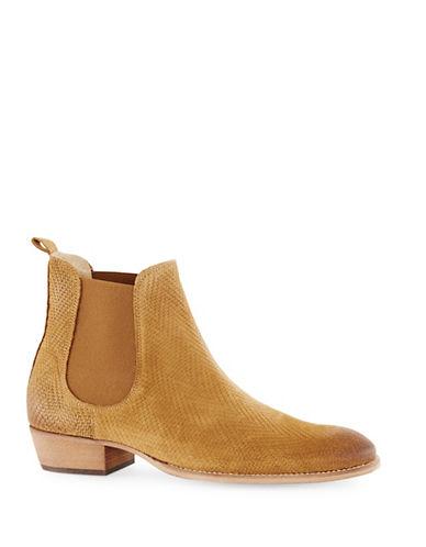 Topman Suede Printed Chelsea Boots-BROWN-41