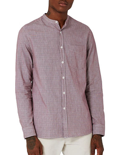 Topman Bleached Stripe Sport Shirt-RED-X-Large