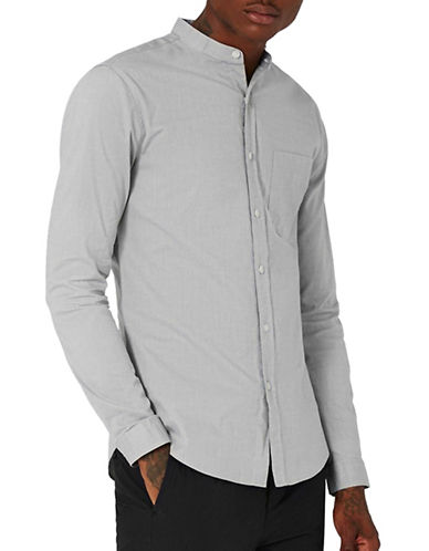 Topman Muscle Fit Oxford Sport Shirt-GREY-X-Large