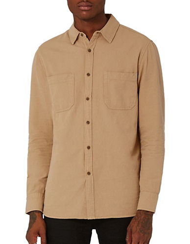 Topman Washed Twill Shirt-GREY-X-Large
