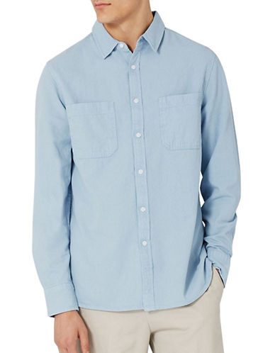 Topman Classic Fit Washed Twill Sport Shirt-BLUE-Small