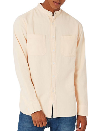 Topman Washed Twill Sport Shirt-PINK-Small
