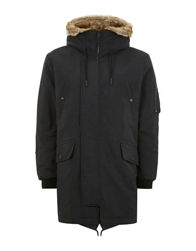 Topman Surplus Parka-BLACK-X-Small