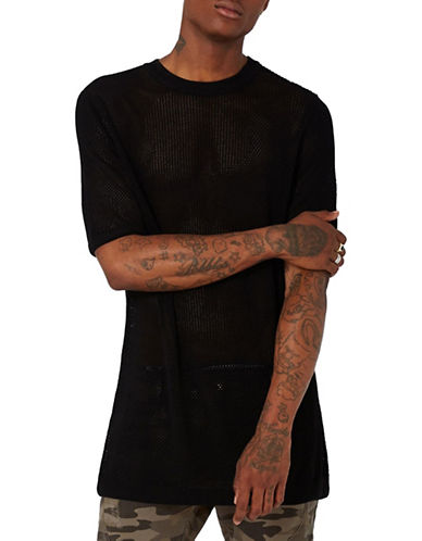 Topman AAA Longline Knit T-Shirt-BLACK-X-Large