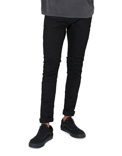 Topman Oil Coated Stretch Skinny Jeans-BLACK-36